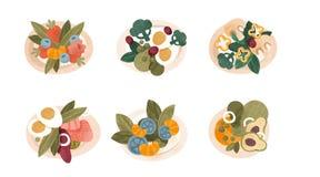 Le varie insalate di verdure hanno messo, cottura sana ed illustrazioni di vettore di concetto del cibo su un fondo bianco Royalty Illustrazione gratis