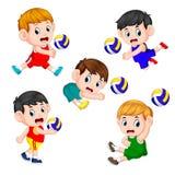 Le varie posizioni del giocatore di pallavolo royalty illustrazione gratis