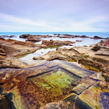 Le Vaschette water pool and rocks Livorno. Italy. Royalty Free Stock Image