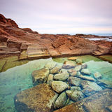 Le Vaschette water pool and stone. Livorno, Italy Stock Photos