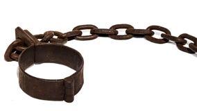 Le vecchie catene, o i dispositivi d'ancoraggio con il piede cuff Immagine Stock Libera da Diritti