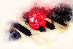 Le vecchie chiavi d'annata del piano del gand con un garofano rosso fioriscono, fondo morbidamente vago dell'acquerello illustrazione vettoriale