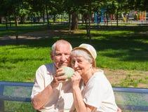 Le vecchie coppie felici di estate su una passeggiata Fotografie Stock