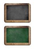 Le vecchie lavagne hanno impostato con il blocco per grafici di legno Fotografia Stock Libera da Diritti