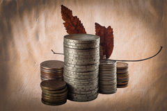 Le vecchie monete ricordano a della gioventù Fotografia Stock