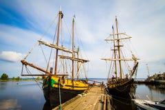 Le vecchie navi a Petrozavodsk Fotografie Stock Libere da Diritti