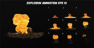 Le vecteur éclatent Éclatez l'animation d'effet avec de la fumée Cadres d'explosion de bande dessinée Feuille de Sprite d'explosi Images stock