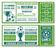 Le vecteur étiquette la tasse 2018 du football du football de calibre Images stock