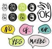 Le vecteur abstrait et la main de symbole de main d'ok d'OK écrits oui, non, peut-être, approuvent des signes dans des bulles de  illustration libre de droits