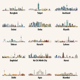 Le vecteur abstrait a isolé des illustrations des horizons asiatiques de ville illustration libre de droits