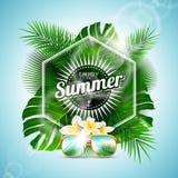 Le vecteur apprécient l'illustration typographique de vacances d'été avec des plantes tropicales et des fleurs sur le fond bleu-c illustration libre de droits