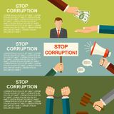 Le vecteur arrêtent le concept de corruption Menottes sur des mains Main donnant l'argent pendant l'affaire corrompue d'affaires  Images stock