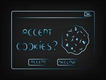 Le vecteur automatique avec le message acceptent le biscuit illustration libre de droits