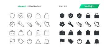 Le vecteur Bien-ouvré parfait de pixel général d'UI rayent légèrement et la grille 1x solide des icônes 30 pour des graphiques et Photographie stock