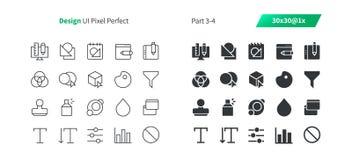 Le vecteur Bien-ouvré parfait de pixel de la conception graphique UI rayent légèrement et la grille 1x solide des icônes 30 pour  Photos stock