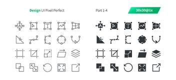 Le vecteur Bien-ouvré parfait de pixel de la conception graphique UI rayent légèrement et la grille 1x solide des icônes 30 pour  Photo stock