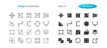 Le vecteur Bien-ouvré parfait de pixel de la conception graphique UI rayent légèrement et la grille 2x solide des icônes 30 pour  Photographie stock