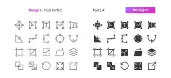 Le vecteur Bien-ouvré parfait de pixel de la conception graphique UI rayent légèrement et la grille 3x solide des icônes 30 pour  Images stock