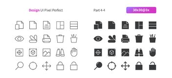 Le vecteur Bien-ouvré parfait de pixel de la conception graphique UI rayent légèrement et la grille 3x solide des icônes 30 pour  Photo libre de droits