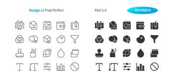 Le vecteur Bien-ouvré parfait de pixel de la conception graphique UI rayent légèrement et la grille 2x solide des icônes 30 pour  Images stock