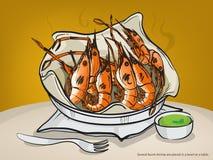 Le vecteur a brûlé des crevettes sur la table, griffonnage de crevette illustration stock