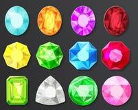 Le vecteur a coloré des diamants de gemmes réglés d'isolement illustration stock