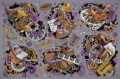 Le vecteur coloré gribouille l'ensemble de bande dessinée de combinaisons classiques d'objets d'instruments de musique Photo libre de droits