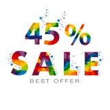 Le vecteur a coloré 45 pour cent de textes de vente au rabais Image stock