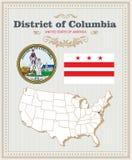 Le vecteur détaillé élevé a placé avec le drapeau, manteau de District de Columbia de bras Affiche américaine Carte de voeux illustration stock