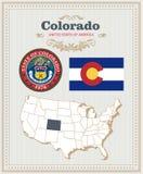 Le vecteur détaillé élevé a placé avec le drapeau, manteau des bras le Colorado Affiche américaine Carte de voeux illustration stock