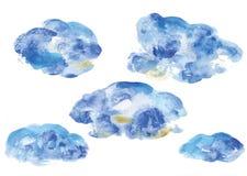 Le vecteur d'aquarelle opacifie, les nuages décoratifs de structure, structure bleue de floc illustration libre de droits