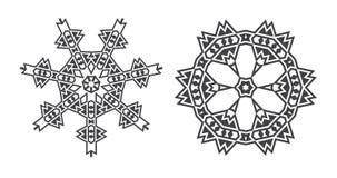 Le vecteur d'Israel Jew Ethnic Fractal Mandala ressemble au flocon de neige ou illustration de vecteur