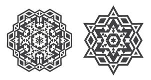Le vecteur d'Israel Jew Ethnic Fractal Mandala ressemble au flocon de neige ou Photos libres de droits