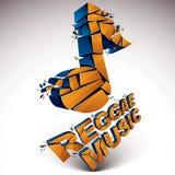 Le vecteur 3d orange a brisé la note musicale avec des points et le refracti Illustration Libre de Droits