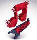 Le vecteur 3d rouge a brisé la note musicale avec des points et des réfractions Images libres de droits