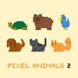 Le vecteur de bande dessinée d'animaux de style d'art de pixel a placé 2 Images stock
