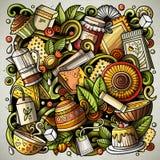Le vecteur de bande dessinée gribouille l'illustration de temps de thé Photographie stock libre de droits