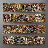 Le vecteur de bande dessinée gribouille les bannières horizontales de la nourriture 2 russes Photo stock