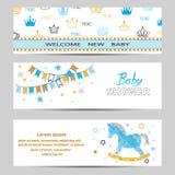 Le vecteur de bannières de garçon de fête de naissance a placé dans des couleurs bleues et d'or illustration stock