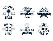 Le vecteur de dégagement de vente d'été badges une certaine illustration tirée par la main de labels de la publicité d'achats Photographie stock