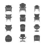Le vecteur de fauteuil de silhouette a isolé des icônes réglées Images stock
