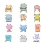 Le vecteur de fauteuils de Colorfull a isolé des icônes réglées Photo stock