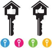 Le vecteur de la Chambre et les icônes et les boutons de clé a placé dedans comme le signe Images libres de droits