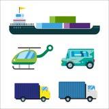 Le vecteur de la livraison de transport a isolé le bateau-citerne blanc d'icône de silhouette de bateau d'hélicoptère de camion d Photos stock