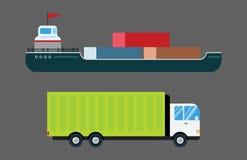 Le vecteur de la livraison de transport a isolé le bateau-citerne blanc d'icône de silhouette de bateau d'hélicoptère de camion d Images stock