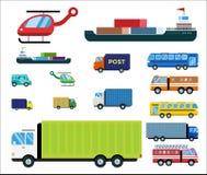 Le vecteur de la livraison de transport a isolé le bateau-citerne blanc d'icône de silhouette de bateau d'hélicoptère de camion d Images libres de droits