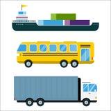 Le vecteur de la livraison de transport a isolé le bateau-citerne blanc d'icône de silhouette de bateau d'hélicoptère de camion d Photographie stock libre de droits