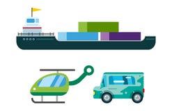 Le vecteur de la livraison de transport a isolé le bateau-citerne blanc d'icône de silhouette de bateau d'hélicoptère de camion d Image libre de droits