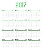 Le vecteur de la nouvelle année du calendrier 2017, calendrier de 12 mois a placé avec le gre Images libres de droits