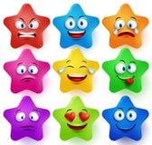 Le vecteur de visages d'étoile a placé avec des couleurs et des expressions du visage Photographie stock